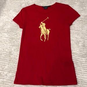 Designer Ralph Lauren Red and Gold T-shirt